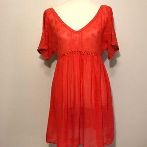 Free People Sheer Orange Dress Size M